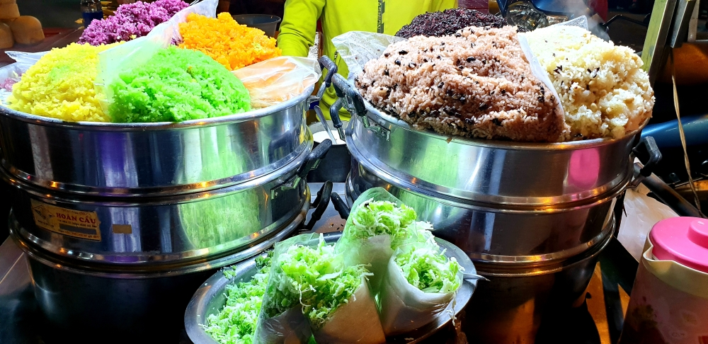 street food vietnam, colored rice